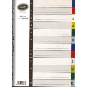 Bantex A4 PP 1-12 Numbered Index Dividers – Printed