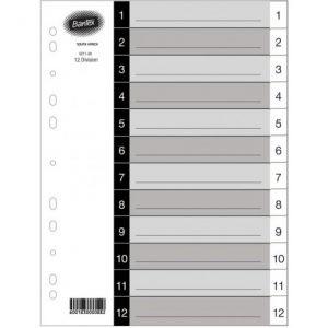 Bantex Grey A4 PP 1-12 Index Dividers – Printed