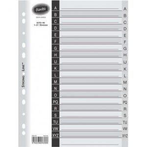 Bantex Grey A4 PP A-Z Index Dividers (20-Tab) – Printed