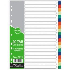 Treeline A4 Divider PVC 20 Tab – Not Printed