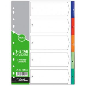 Treeline A4 Divider PVC Numbered Index 1 To 5 – Printed
