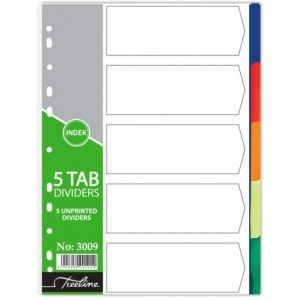 Treeline A4 Divider PVC 5 Tab – Not Printed