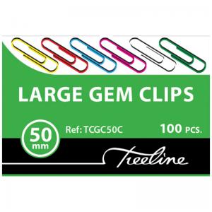Treeline Paper Clips 50mm Coloured PVC Coated – 100s