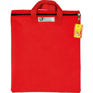 Trefoil Nylon Library Book Bag With Handle Red