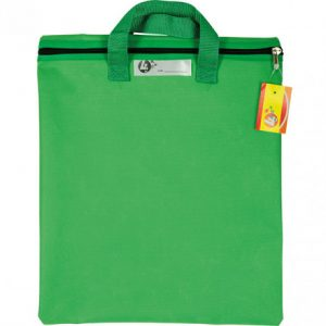 Trefoil Nylon Library Book Bag With Handle Green