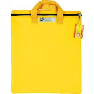 Trefoil Nylon Library Book Bag With Handle Yellow