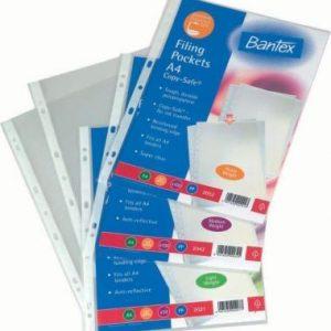 Bantex A4 Filing Pockets 80 Micron – 100 Pack