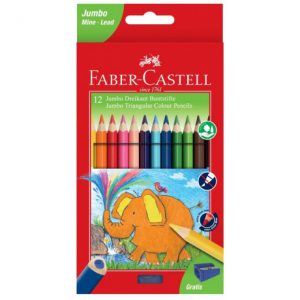 Faber Castell 12 Jumbo Triangular Colour Pencils With Free Sharpener 5.4mm