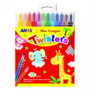Amos 12 Twisters Retractable Wax Crayons