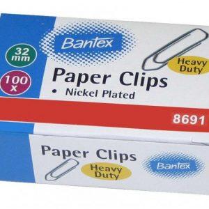 Bantex Heavy Duty Boat Shape Silver Paper Clips 32mm (100 Clips)