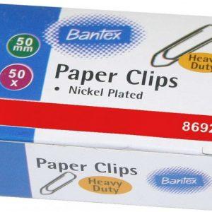 Bantex Heavy Duty Boat Shape Silver Paper Clips 50mm (50 Clips)