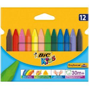 Bic Kids Plastidecor Triangular Wax Crayons 12s