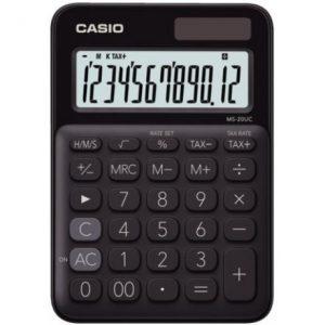 Casio MS20UC 12-Digit Mini Calculator – Black