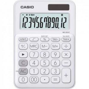 Casio MS20UC 12-Digit Mini Calculator – White