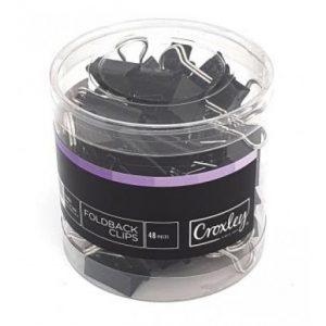 Croxley Foldback Clips 19mm – Black (48 Piece)