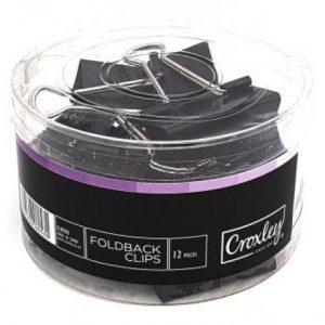 Croxley Foldback Clips 51mm – Black (12 Piece)
