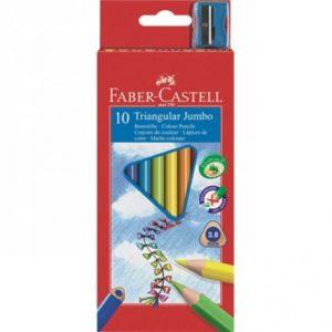 Faber Castell Full Length Triangular Junior Grip Colour Pencils – 10'S