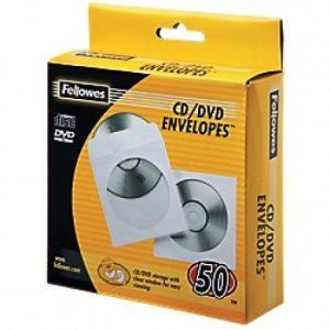 Fellowes White CD Paper Sleeves 50pk
