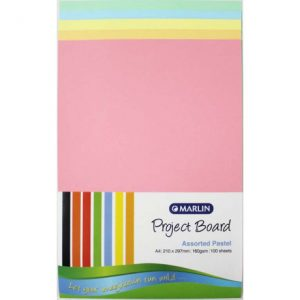 Marlin Project Boards A4 160gsm 100'S Assorted Pastel
