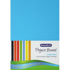 Marlin Project Boards A4 160gsm 100'S Bright Blue
