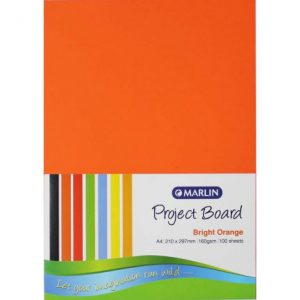 Marlin Project Boards A4 160gsm 100'S Bright Orange