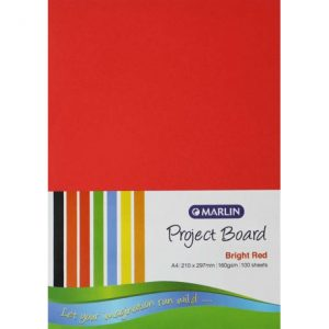 Marlin Project Boards A4 160gsm 100'S Bright Red
