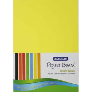 Marlin Project Boards A4 160gsm 100'S Bright Yellow
