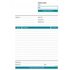 RBE NC A5 Duplicate Delivery Note