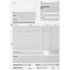 RBE A4 Duplicate Quotation Pad