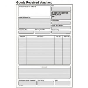 RBE NC A5 Triplicate Goods Received Voucher
