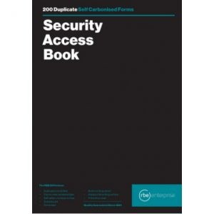 RBE A4 Security Access Book – 4 To View – 200 Numbered Slips