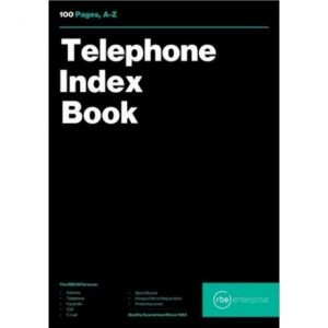 RBE A5 Telephone Index Book A-Z – 100 Pages