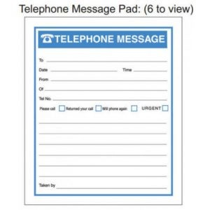 RBE Telephone Message Book – 6 To View NCR – 300 Messages