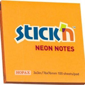 Stick'n Notes Neon 76x76mm Orange(100 Sheets)