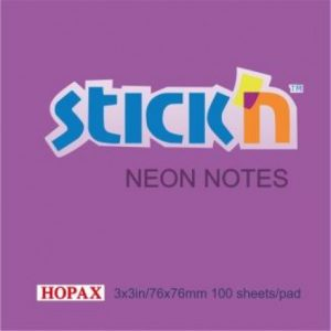 Stick'n Notes Neon 76x76mm Purple (100 Sheets)