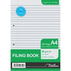 Treeline A4 96pg Filing Book Punched – 80gsm