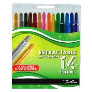 Treeline Colour Retractable Wax Crayons 14s