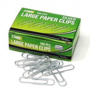 Treeline Paper Clips 33mm Silver – 100s