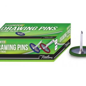 Treeline Drawing Pins Assorted Colours – 50s