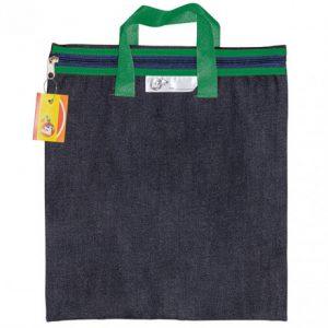 Trefoil Denim School Library Book Bag With Handle Green