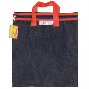 Trefoil Denim School Library Book Bag With Handle Red