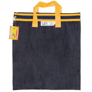 Trefoil Denim School Library Book Bag With Handle Yellow