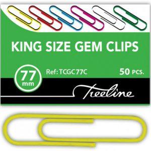 Treeline Paper Clips 77mm Coloured PVC Coated – 50s