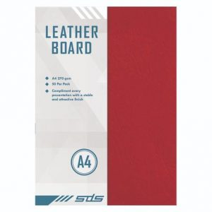 SDS Leather Grain Board Red A4 270gsm – Pack Of 50