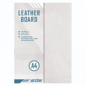 SDS Leather Grain Board White A4 270gsm – Pack Of 50