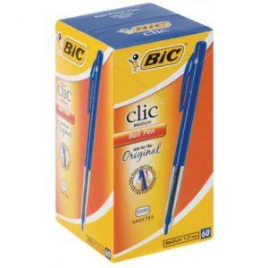Bic Clic Medium Ballpoint Pens – Blue (Box Of 60)