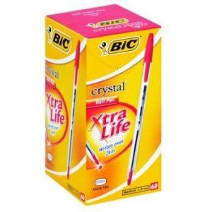 Bic Crystal Medium Xtra Life Ballpen Red (Box-60)